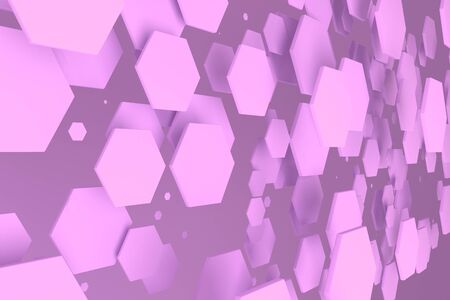 Violet hexagons of random size on violet background. Abstract background with hexagons. Cloud of hexagons in front of wall. 3D rendering illustration
