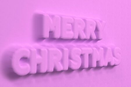 Violet Merry Christmas words bas-relief. Christmas sign. 3D rendering illustration