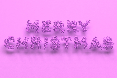 illustration merry christmas words from violet balls on violet background christmas sign 3d rendering illustration - Merry Christmas Words
