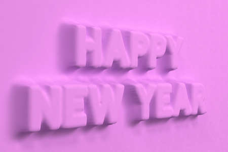 Violet Happy New Year words bas-relief. New year sign. 3D rendering illustration
