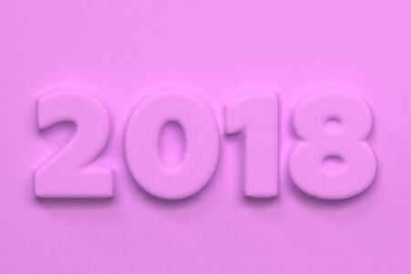 Violet 2018 number bas-relief. 2018 new year sign. 3D rendering illustration Stock Photo