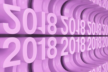 Bended 2018 3D numbers. Grid of violet New 2018 Year figures. Abstract background. 3D rendering illustration of 2018 number Stock Photo