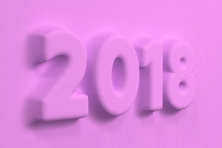 background next: Violet 2018 number bas-relief. 2018 new year sign. 3D rendering illustration Stock Photo