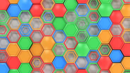 Abstract 3d background made of blue, red, green and orange hexagons on white background. Wall of hexagons. Honeycomb pattern. 3D render illustration