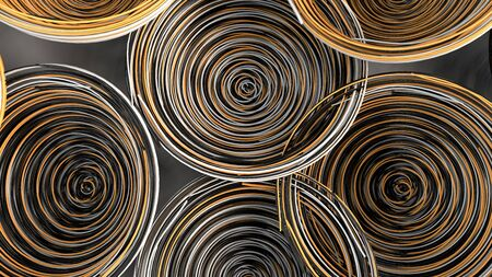 Abstract background from white, black and orange spiraled coils. Colorful wires with depth of field. 3D rendering illustration Stock Photo