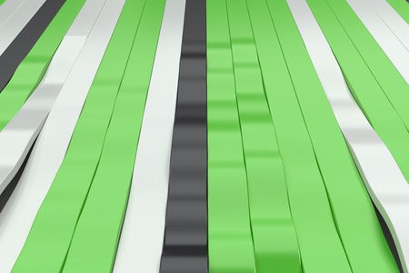 Abstract 3D rendering of black, white and green sine waves. Bended stripes background. Reflective surface pattern. 3D render illustration