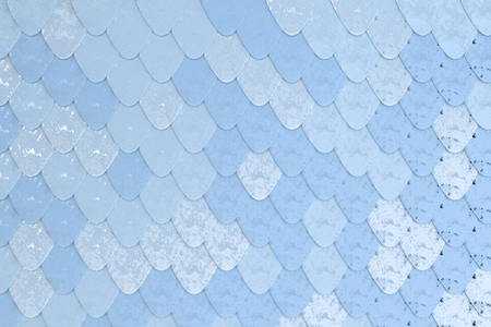 Pattern of blue rounded roof tiles. Abstract shingles background. 3D rendering illustration Stock Photo