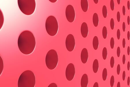 Plain red surface with cylindrical holes. Abstract background. 3D rendering illustration