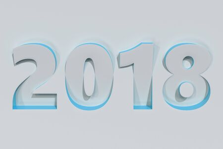 2018 number bas-relief on white surface with blue sides. 2018 new year sign. 3D rendering illustration