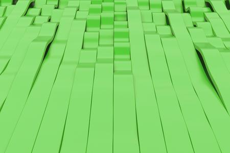 Abstract 3D rendering of green sine waves. Bended stripes background. Reflective surface pattern. 3D render illustration