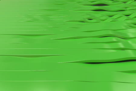 Abstract 3D rendering of green sine waves. Bended stripes background. Reflective surface pattern. 3D render illustration