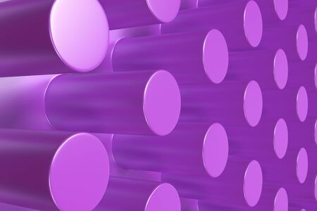 Plain violet surface with cylinders. Abstract background. 3D rendering illustration Stock Photo