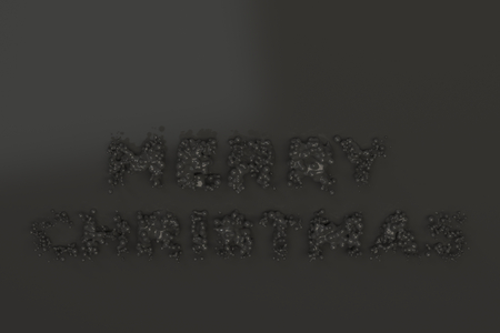 Liquid black Merry Christmas words with drops on black background. Christmas sign. 3D rendering illustration