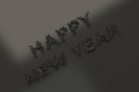 Liquid black Happy New Year words with drops on black background. New year sign. 3D rendering illustration Stock Photo