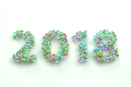 2018 number from colorful balls on blwhite ack background. 2018 new year sign. 3D rendering illustration Stock Photo