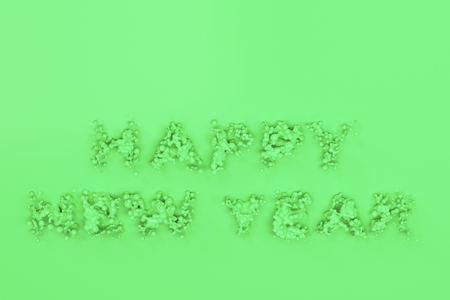 Liquid green Happy New Year words with drops on green background. New year sign. 3D rendering illustration
