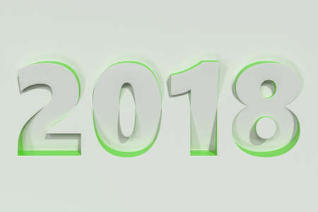 2018 number bas-relief on white surface with green sides. 2018 new year sign. 3D rendering illustration Stock Photo