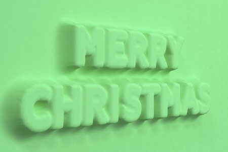 Green Merry Christmas words bas-relief. Christmas sign. 3D rendering illustration Stock Photo