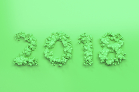 Liquid green 2018 number with drops on green background. 2018 new year sign. 3D rendering illustration