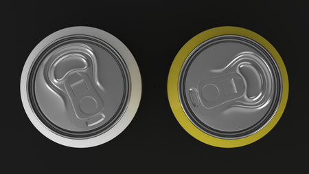 Two small white and yellow aluminum soda cans mockup on black background. Tin package of beer or drink. 3D rendering illustration