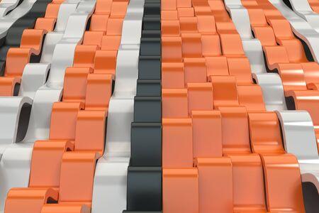 Abstracte 3D-weergave van zwarte, witte en oranje sinusgolven. Gebogen strepen achtergrond. Reflecterend oppervlaktepatroon. 3D render illustratie Stockfoto