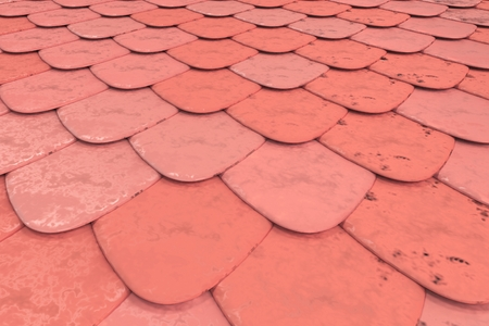 Pattern of red rounded roof tiles. Abstract shingles background. 3D rendering illustration