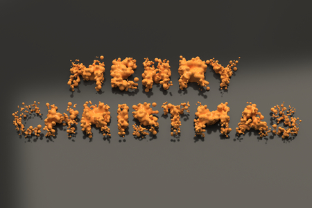 Liquid orange Merry Christmas words with drops on black background. Christmas sign. 3D rendering illustration