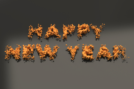 Liquid orange Happy New Year words with drops on black background. New year sign. 3D rendering illustration