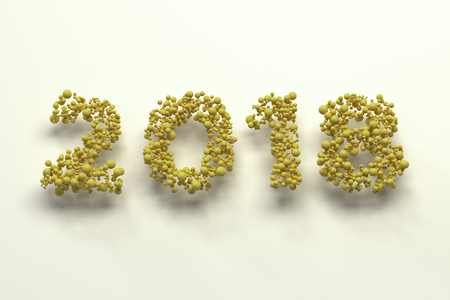 2018 number from yellow balls on white background. 2018 new year sign. 3D rendering illustration Stock Photo