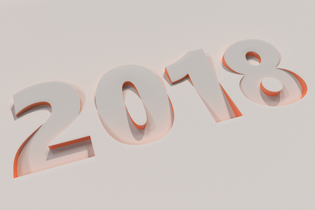 2018 number bas-relief on white surface with orange sides. 2018 new year sign. 3D rendering illustration