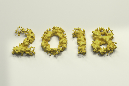 Liquid yellow 2018 number with drops on white background. 2018 new year sign. 3D rendering illustration Stock Illustration - 91447216