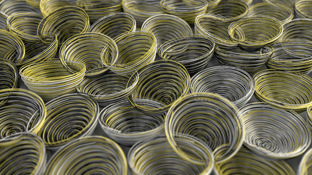 Abstract background from white, black and yellow spiraled coils. Colorful wires with depth of field. 3D rendering illustration Stock Photo