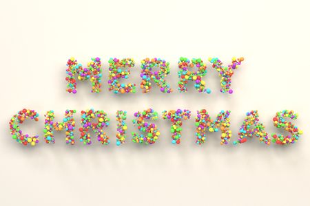 Merry Christmas words from colorful balls on white background. Christmas sign. 3D rendering illustration Stock Photo