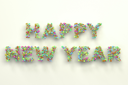 Happy New Year words from colorful balls on white background.New Year sign. 3D rendering illustration