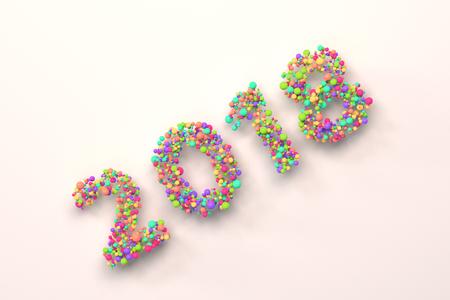 2018 number from colorful balls on blwhite ack background. 2018 new year sign. 3D rendering illustration Banco de Imagens