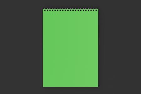 Blank green notebook with metal spiral bound on black background. Business or education mockup. 3D rendering illustration