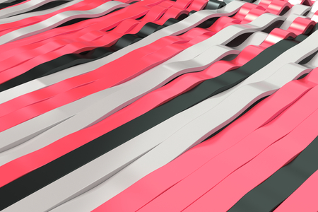 Abstracte 3D-weergave van zwarte, witte en rode sinusgolven. Gebogen strepen achtergrond. Reflecterend oppervlaktepatroon. 3D render illustratie