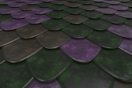 Pattern of rounded roof tiles in different colors. Abstract shingles background. 3D rendering illustration