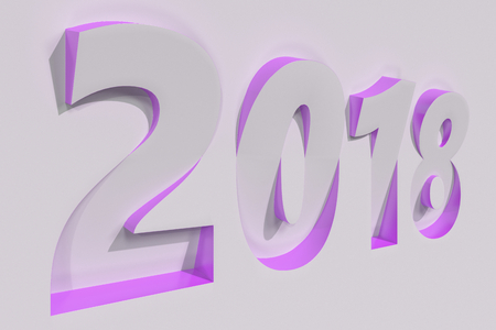 2018 number bas-relief on white surface with violet sides. 2018 new year sign. 3D rendering illustration Stock Photo