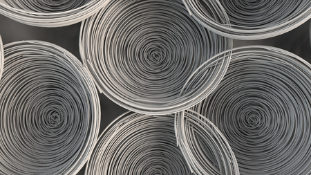 Abstract background from white spiraled coils. Wires with depth of field. 3D rendering illustration