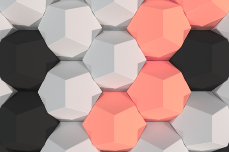Pattern of white, red and black hexagonal elements. Wall of dodecahedrons. Architectural background. 3D rendering illustration