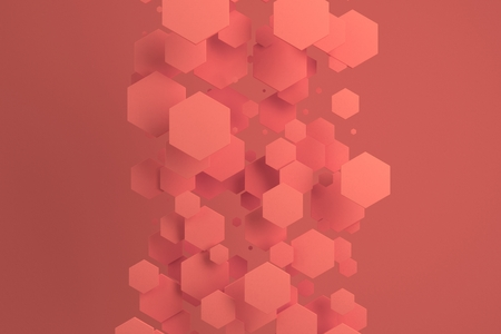 Red hexagons of random size on red background. Abstract background with hexagons. Cloud of hexagons in front of wall. 3D rendering illustration Stock Photo