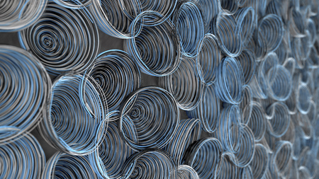 Abstract background from white, black and blue spiraled coils. Colorful wires with depth of field. 3D rendering illustration