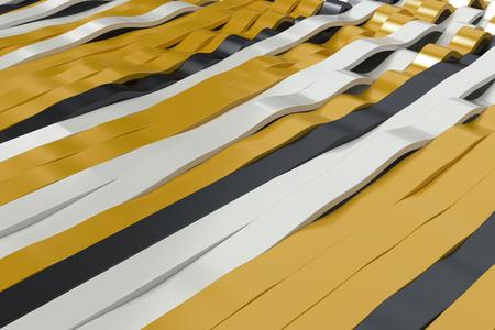 Abstracte 3D-weergave van zwarte, witte en gele sinusgolven. Gebogen strepen achtergrond. Reflecterend oppervlaktepatroon. 3D render illustratie