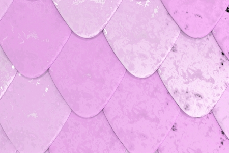 Pattern of violet rounded roof tiles. Abstract shingles background. 3D rendering illustration Stock Photo