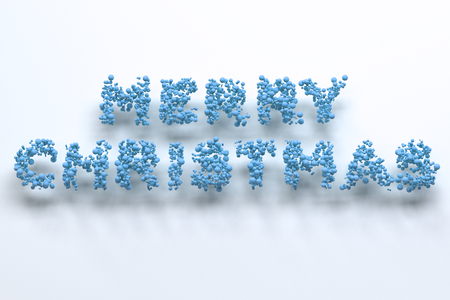 Merry Christmas words from blue balls on white background. Christmas sign. 3D rendering illustration