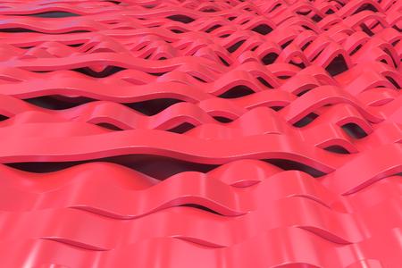 Het abstracte 3D teruggeven van rode sinusgolven. Gebogen strepen achtergrond. Reflecterend oppervlaktepatroon. 3D render illustratie Stockfoto