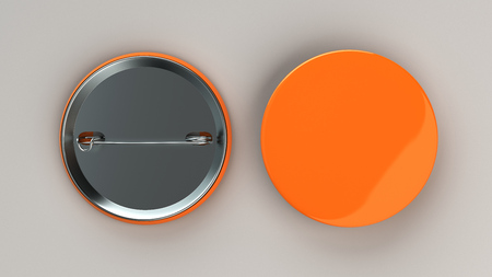 Blank orange badge on white background. Pin button mockup. 3D rendering illustration