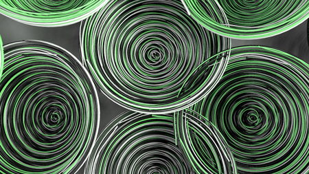 Abstract background from white, black and green spiraled coils. Colorful wires with depth of field. 3D rendering illustration Stock Photo