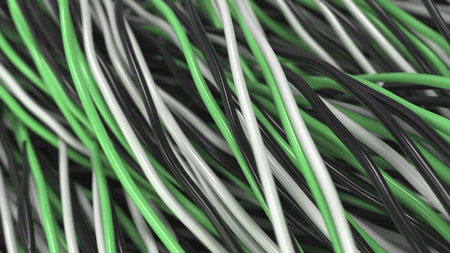 Twisted black, white and green cables and wires on black surface. Computer or telephone network. 3D rendering illustration